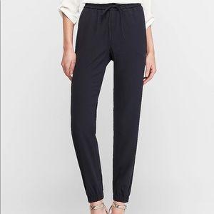 Express drawstring jogger ankle pants navy blue